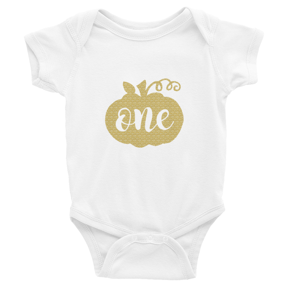 One Pumpkin Gold Glitter Baby Onesie Birthday