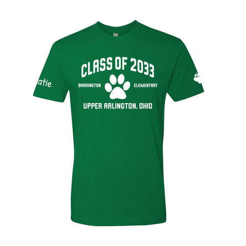 Barrington Elementary Upper Arlington Class of 2033 green tshirt