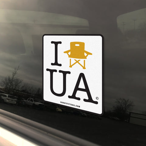 'I Lawn Chair UA' vinyl window decal bumper sticker - UA Outfitters