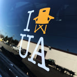 'I Lawn Chair UA' die cut upper arlington window sticker decal - UA Outfitters