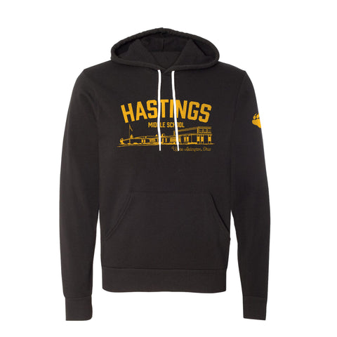 Hastings Middle School Spirit Wear vintage style black hoodie, unisex sizing, UA Outfitters