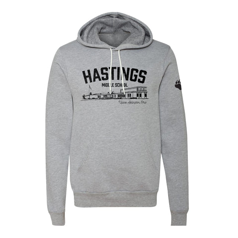 Hastings Middle School Spirit Wear vintage style grey hoodie, unisex sizing, UA Outfitters