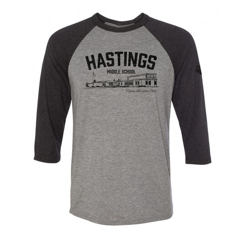 Hastings Middle School Spirit Wear vintage style raglan shirt, unisex sizing, UA Outfitters
