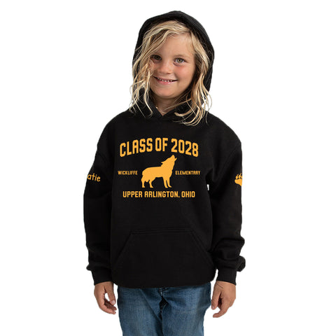 Wickliffe Progressive Elementary Upper Arlington Class of 2028 black hoodie