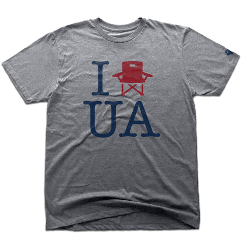 UA Outfitters premium 'I lawn chair UA'  tri-blend heather gray upper arlington men's tee