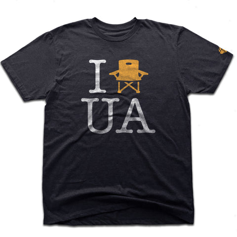 UA Outfitters premium 'I lawn chair UA'  tri-blend vintage black upper arlington men's tee