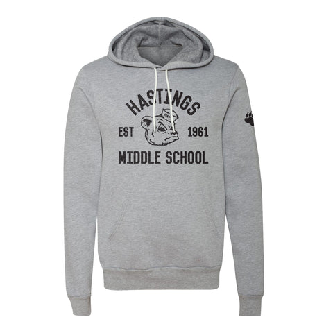 Hastings Middle School Spirit Wear retro bear grey hoodie, unisex sizing, UA Outfitters