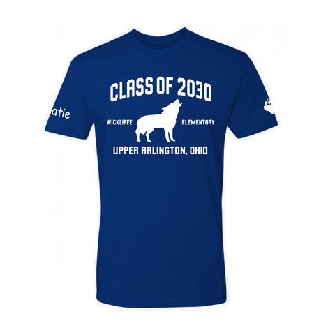 Wickliffe Progressive Elementary Upper Arlington Class of 2030 blue t shirt