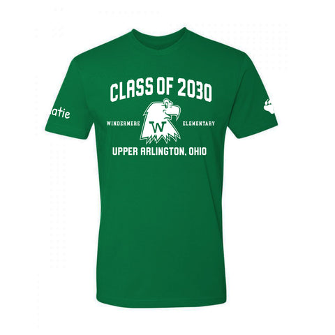Windermere Elementary Upper Arlington Class of 2030 t shirt green