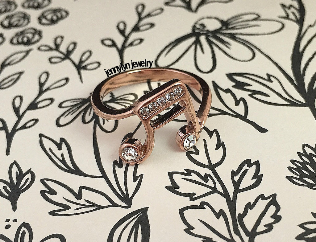 Music Note Ring (Rosegold - Stainless Steel) // Crystal-Diamonds