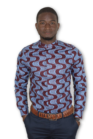 African Print Dress Shirt - Mandarin Collar
