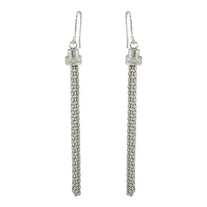 ZAIRA SILVER TASSEL EARRINGS
