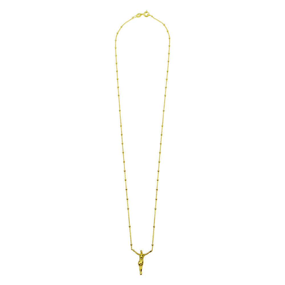 ON THE CROSS GOLD BEADED NECKLACE