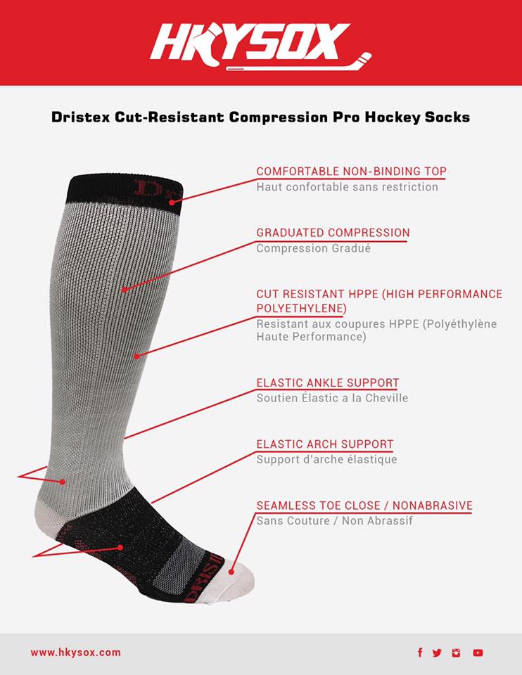 Dristex Cut-Resistant Graduated compression Pro Hockey Socks.