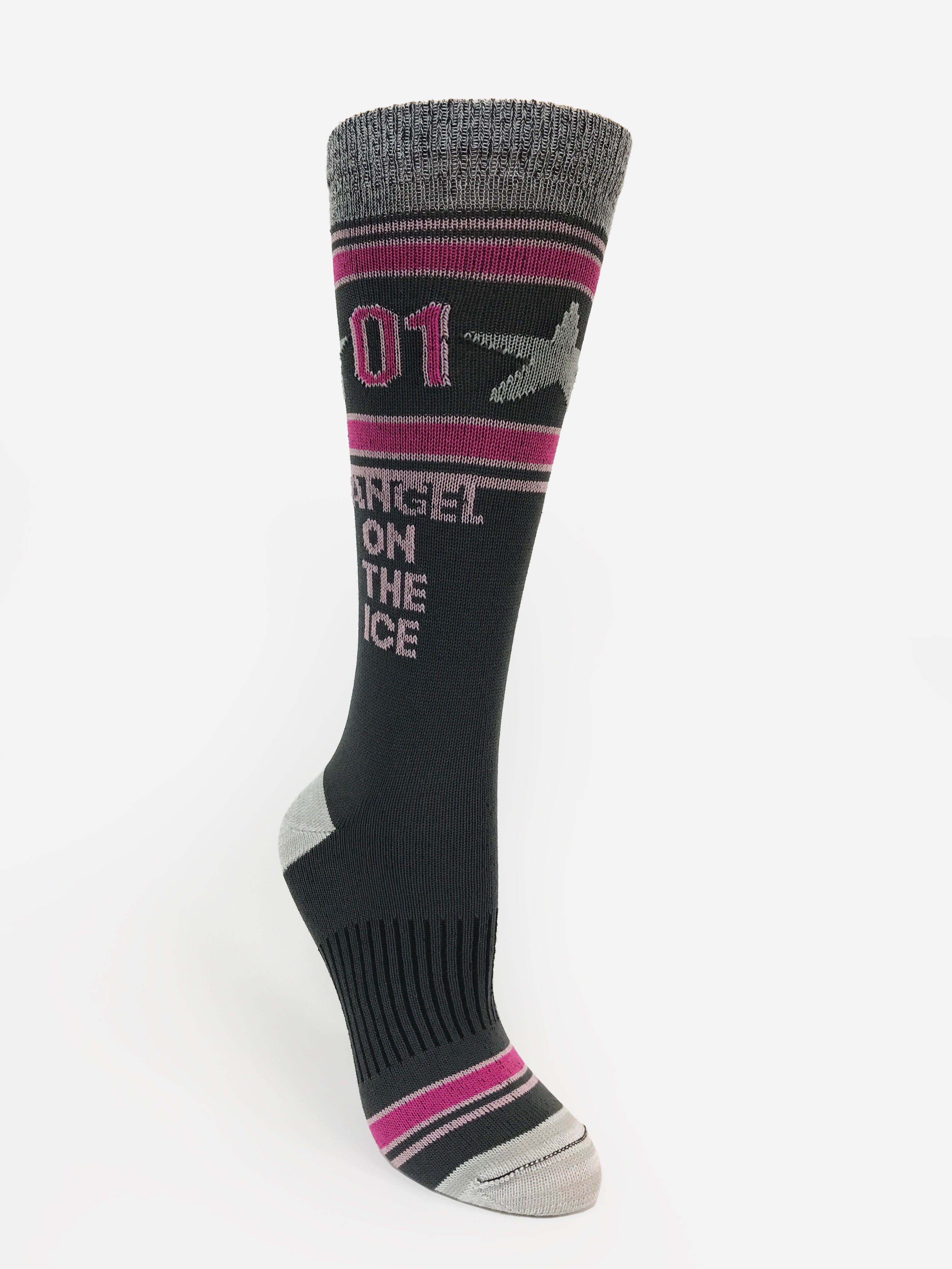 """Angel on Ice"" Shop Inspiration with our Performance Motivational Socks by HKYSOX. We strategically designed these socks to reduces bulk and deliver superior comfort and breathability."