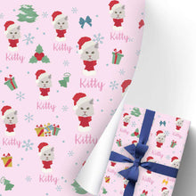 Load image into Gallery viewer, Custom Name Gift Wrapping Paper 3 Rolls Kitty Cat I08