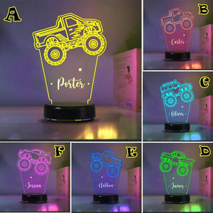 Custom Truck Children's Night Lights with Name/ 7 Color Changing LED Lamp 01