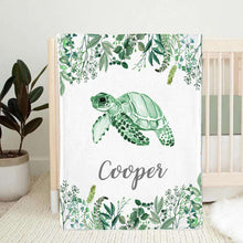 Load image into Gallery viewer, Personalized Name Fleece Blanket 05-Turtle