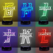 Load image into Gallery viewer, Custom Initial & Name Children's/7 Colors 3D Night Light 05