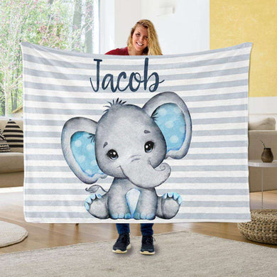Personalized Name Fleece Blanket 11-Elephant