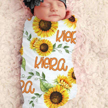 Load image into Gallery viewer, Baby Swaddle Fleece Blanket-Sunflower