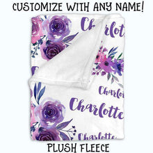 Load image into Gallery viewer, Baby Swaddle Fleece Blanket-Purple