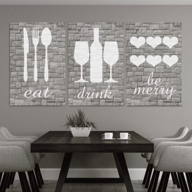 Rustic Eat Drink Be Merry Canvas Wall02 3 Pieces