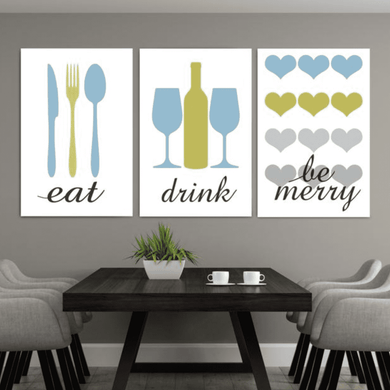 Rustic Eat Drink Be Merry Canvas Wall03 3 Pieces