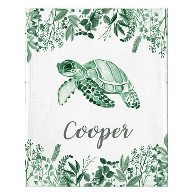 Personalized Name Fleece Blanket 05-Turtle