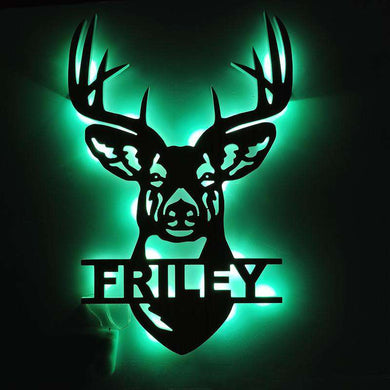 PERSONALIZED DEER WALL DECOR CUTOUT LED LAMP PREMIUM