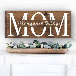 Custom Wood Mom Family Sign 01