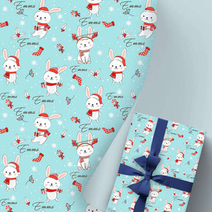 Custom Name Gift Wrapping Paper 3 Rolls Rabbit I14