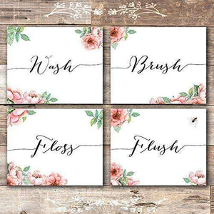 Wash Brush Floss Flush Bathroom Decor Art Canvas 07-4 Pieces