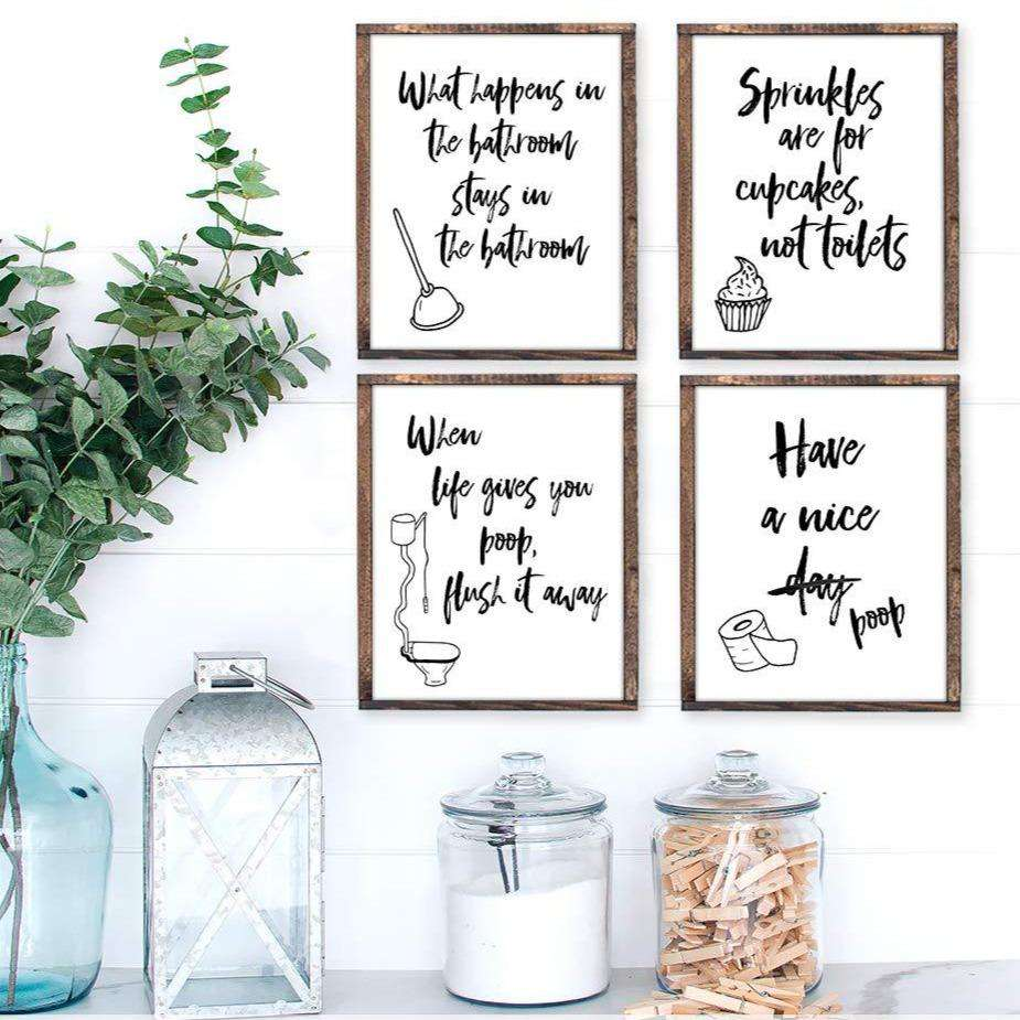 Funny Bathroom Art Canvas 09-4 Pieces