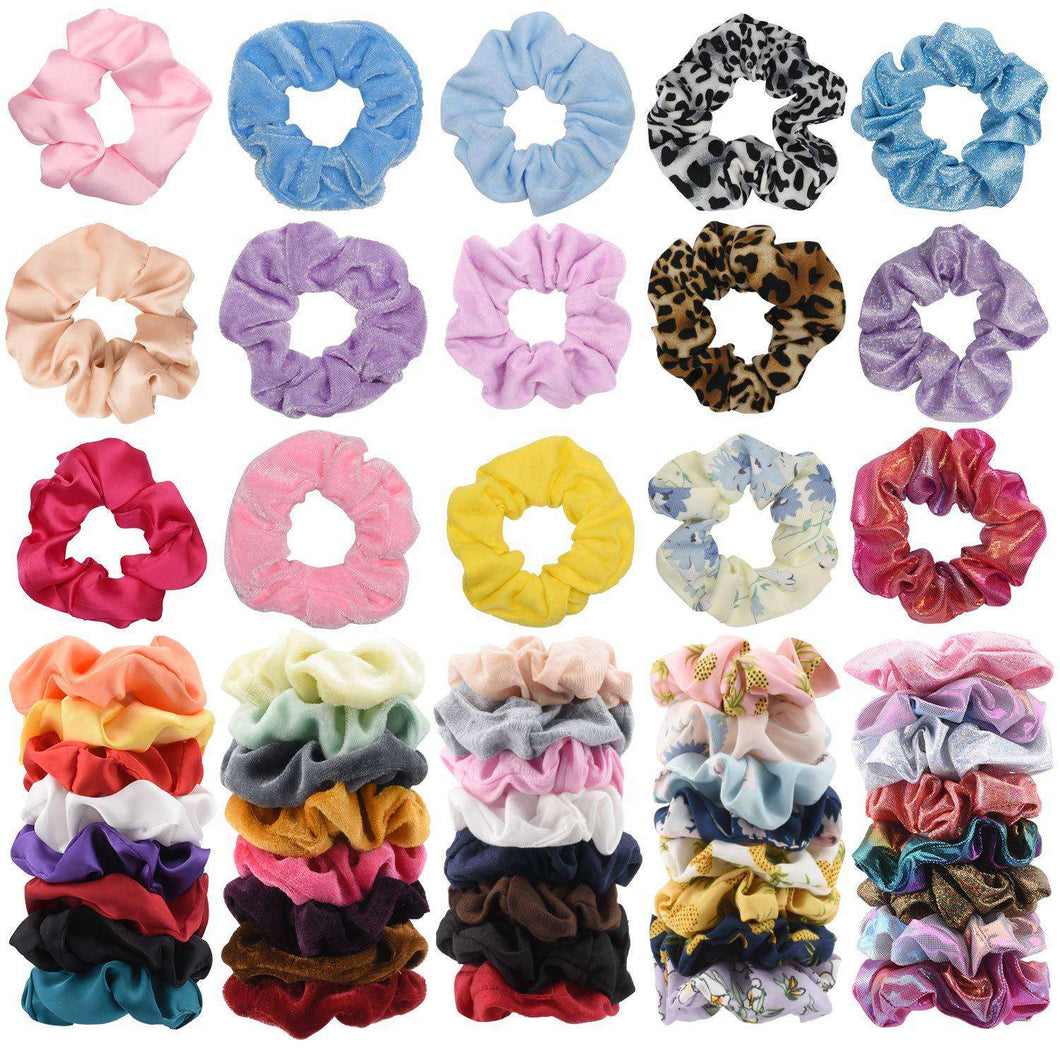 Scrunchies 55pcs - 11 Vintage Velvet & 11 Silk & 11Cotton &11 Flower Chiffon & 4 Rainbow & 7 Shiny Metallic Elastic Hair Bands, Scrunchy Ties Ropes for Woman