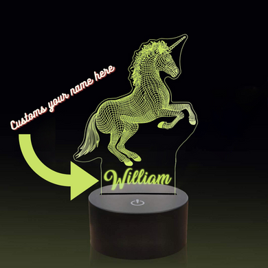 Personalised Unicorn LED Colour Changing Night Light 02