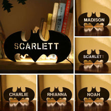 Load image into Gallery viewer, Personalized Wooden Bat Night Lamp With Name 01