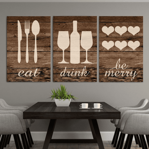 Rustic Eat Drink Be Merry Canvas Wall01 3 Pieces