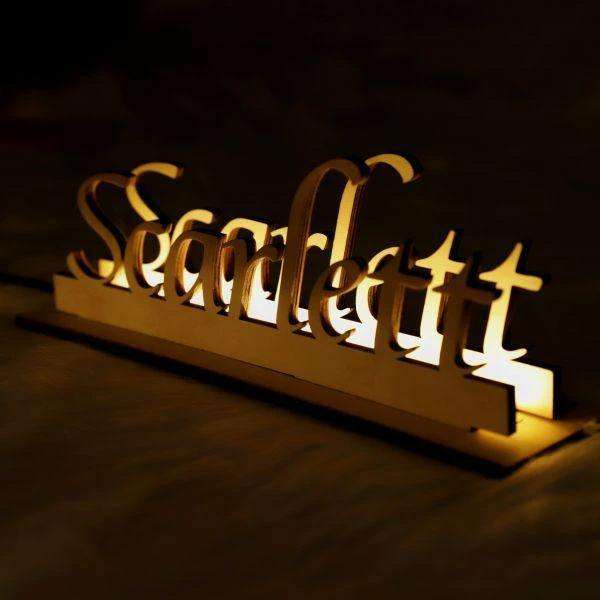 Personalized Wooden Engraved Name Night Light 01