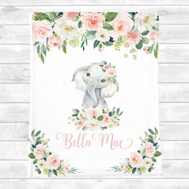 Personalized Name Fleece Blanket 08-Elephant