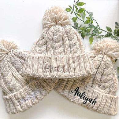 Personalised Embroidered Chunky Knit Winter Pom Pom Hat