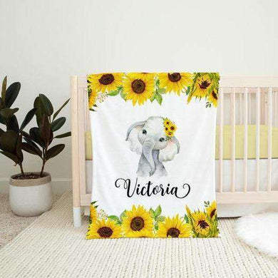 Personalized Name Fleece Blanket 10-Elephant