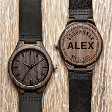 Load image into Gallery viewer, Personalized Bamboo Wooden Watches for Groomsmen