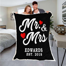 Load image into Gallery viewer, Mr And Mrs Personalized Blanket With Name And Wedding Year