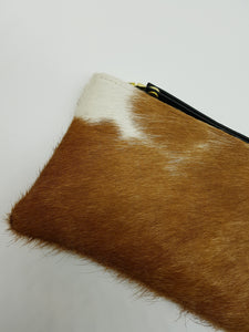 ELLE clutch brown & white small