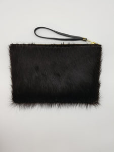 LE JOUR clutch black & white fur small
