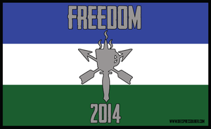 Flag insipred by the Cascadian Flag from the Pacific Northwest.  Colors are three horizontal bars top to bottom, blue, white and green with the De Espresso Liber logo in the center of the flag.  The text 'Freedom' is at the top of the flag, the year 2014 is at the bottom.