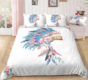 Bohemian Feather Head Doona Set