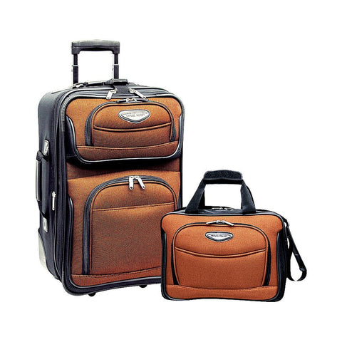 famous Amsterdam 2-piece carry-on luggage set Luggage Orange - strapsandbrass.com
