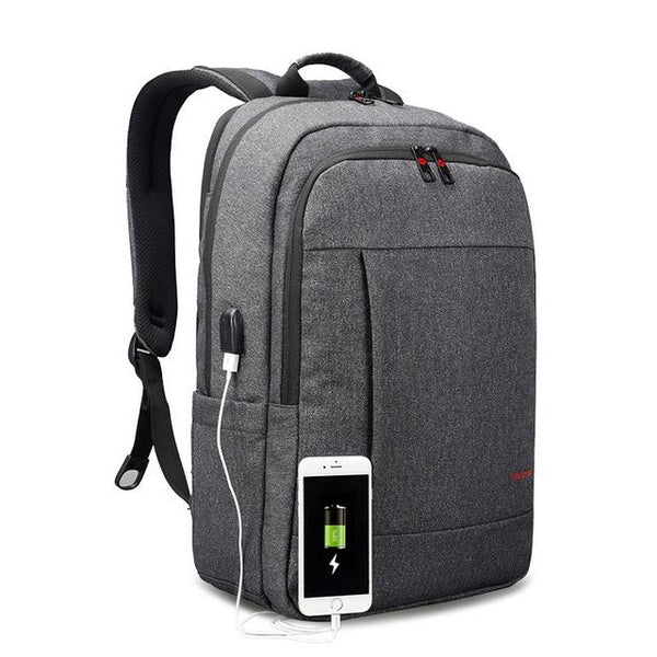 Backpack USB Charging & Anti-Theft <br> Oxford Backpack Black Grey - strapsandbrass.com